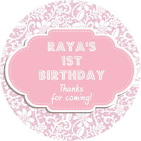 PERSONALISED GLOSSY 1ST BIRTHDAY PINK LACE PARTY STICKERS SWEET CONE LABELS