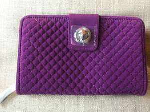 VERA BRADLEY RFID Turn Lock Wallet GLOXINIA PURPLE New With Tags MICROFIBER