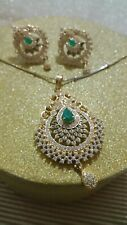 Indian jewellery NECKLACE SET PENDANT AD AND CZ HIGH QUALITY EMERALD GOLD PLATED