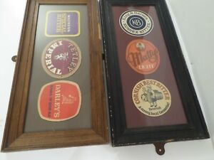 Two vintage framed Beer mat collections ex. The Inn Place, Nile st. Sunderland