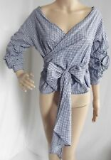 BLUE WHITE Medium CHECKED GINGHAM WRAP BOW TIE RUFFLE OFF SHOULDER BLOUSE shirt