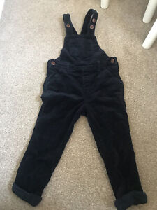 Next Baby Boy Dark Blue Cord Dungarees Trousers Sz 2-3 Years