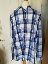 Crew Clothing Co Men's checked shirt tailored fit size Large L. Blue/white check