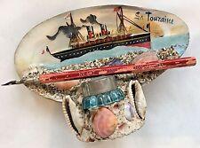 "Antique Vintage French Ship ""La Touraine"" Seashell Shell Inkwell France Souvenir"