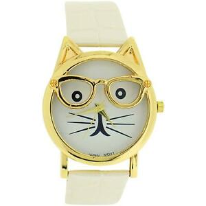 The Olivia Collection Ladies/Girls White Dial Cat Face Cream Croc Effect Watch