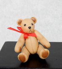 Vintage Ceramic Sculpted Jointed Teddy Bear Artisan Dollhouse Miniature 1:12