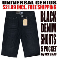 Universal Genius NWT Men's Black Semi Faded Denim Shorts With Free Shipping