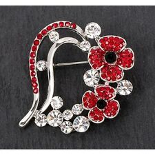 Equilibrium Silver Plated Poppy Crystal Heart Brooch 69148