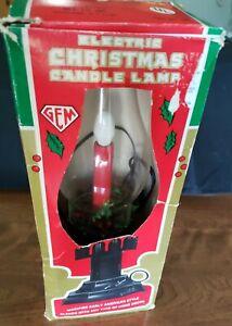 RETRO GEM Electric Christmas Candle Lamp Light Glass Hurricane Original BOX Work