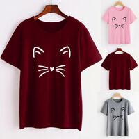 Fashion Women Short Sleeve O-Neck T-Shirt Summer Cat Print T-Shirt Tops Blouses