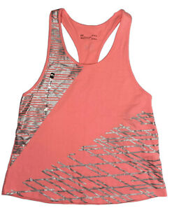 Under Armour Loose Tank Top Heathear Womens Large Pink Silver Geometric NWT