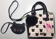 Luv Betsey Johnson Pink Black Kitty Small Satchel Bag Crossbody & Cat Coin Purse