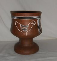 Vintage Red Clay Terra Cotta Vase Stemmed Dish Hand Carved Hand Painted Birds