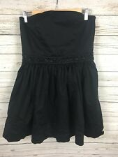 Superdry Black Strapless Dress With Bead Detail Size 14 Cost