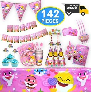 Shark Party supplies Disposable tableware Birthday decorations Baby pink 142pcs