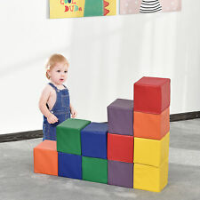 12 PCs Soft Play Blocks Soft Foam Toy Building and Stacking Blocks for Kids