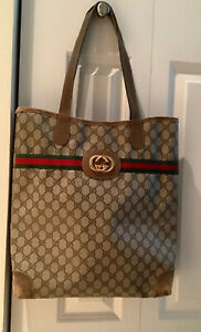 Authentic Vintage GUCCI Supreme GG Tote Handbag From 80's