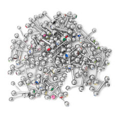 100 Mixed Piercing Barbells - Multi-Color CZ Gems - Mixed Gauges/Lengths - 316L