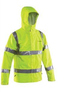 Grundens Weather Watch Hooded Rain Jacket Fishing Reflective Yellow  10029