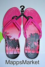 NWT Authentic CROCS Isabella Graphic Flip Flop Candy Pink/Tropical Sz 5 $29.99
