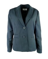 Le Suit Womens Blazer Size 14 Pinstripe Green Two Button Pockets Business New