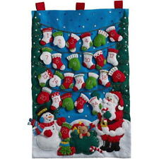 NEW Bucilla Mittens & Stocking,86735 Christmas Advent Calender Felt Applique Kit