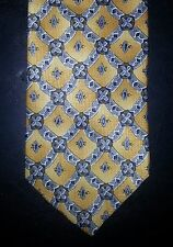 Ketch Tie Gold Blue Charcoal Diamond Geometric NIB t2079