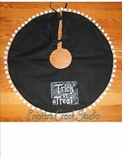 "TRICK OR TREAT Embroidered Tree Skirt,Lamp Skirt 26""dia,Halloween,Prim,Fall,Goth"
