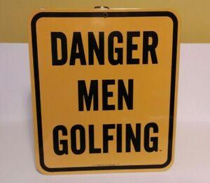 """VINTAGE ANDE ROONEY 1997 YELLOW PORCELAIN WALL SIGN - """"DANGER MEN GOLFING"""""""