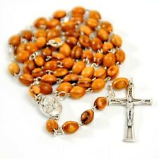 Olive Wood Rosary Beaded Catholic Cross with Soil from Holy Land Crucifix