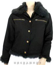 Blouson Veste Manteau noir T. 40 / L / 3 Col Fausse fourrure 100% coton NEUF
