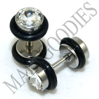0280 Fake Cheaters Faux Illusion Plugs 16G Look 2G 6mm Steel Silver Clear Cubic
