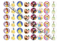 48 Disney Princess Cake Toppers 30mm Printed on premium rice paper