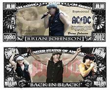 AC/DC - BRIAN JOHNSON ! BILLET de COLLECTION MILLION DOLLAR US ! Hard Rock Heavy