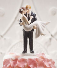 Swept Up in His Arms Romantic Couple Wedding Cake Topper