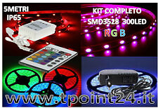KIT COMPLETO STRISCIA LED 5M STRIP RGB SMD3528 MULTICOLOR IMPERMEABILE