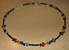 Chakra Necklace / Choker  Genuine Gemstones Black Beads Sterling Silver Clasps