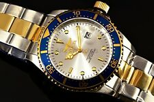Mens Invicta 43mm Pro Diver TwoTone Gold Silver Steel Blue Sunray Dial Watch New