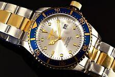 Mens Invicta 43mm Pro Diver TwoTone Gold Silver Steel Blue Sunray Dial Watch New