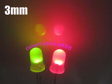 100pcs, 3mm Dual Bi Color Polar Changing Red/Green Led Diffused Leds + Resistors