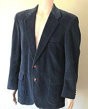 Vintage Blue Corduroy Blazer Sport Jacket Coat Elbow Patch 44R USA Farah Mens