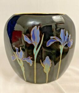 "Black Vase Blue Iris Otagiri Gold Trim Japan 4 1/4""  x 4 1/2""  Home Decor Gifts"