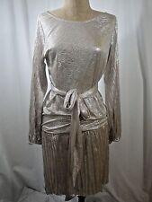 ALEXIS Drop Waist Belted Metallic Dress Sz Small