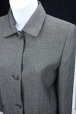 Sz 6 Villager Liz Claiborne Suit Skirt Jacket Wheaton Herringbone Black Brown 2