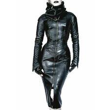 Mujer señoras de cuero negro puro Piloto Abrigo Chaqueta de encaje de matriz gótico Steampunk