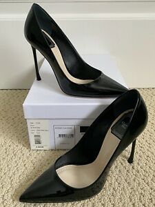 NIB Christian Dior Essence Classic Black Patent Leather Pointed Pumps 37 7 $660