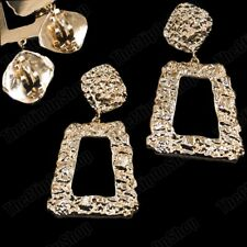 "3""long CLIP ON EARRINGS drop BIG SQUARE ROCK TEXTURED GOLD FASHION vintage retro"