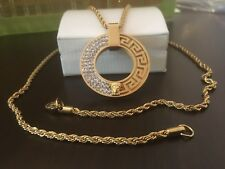 """28"""" Torsade Medusa Necklace & Pendant With White Cubic Zirconia 18k Gold Filled"""