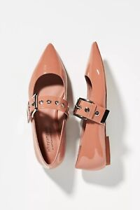 NEW Anthropologie Jeffrey Campbell Mary Jane Flats Shoes Pink Size 8.5 fits 8