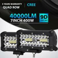 "2x 7"" 5"" 4"" LED Work Light Bar Flood Spot Pods Driving OffRoad Tractor 4X4WD 12V"